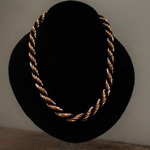 Braided Twisted Chain Link & Fabric VTG Necklace